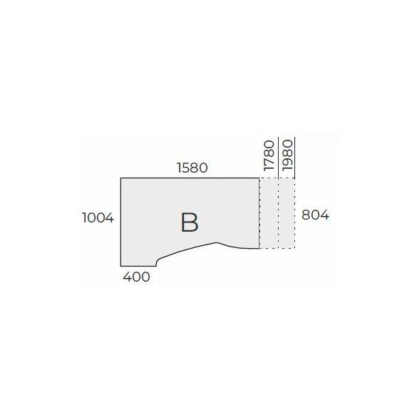 EX HA 158/100 fémlábas íróasztal jobbos kivitelben