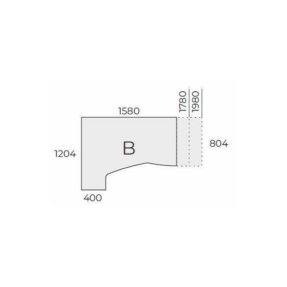 EX HC 158/120 fémlábas íróasztal jobbos kivitelben
