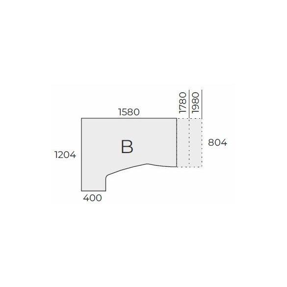 EX HC 198/100 fémlábas íróasztal balos kivitelben