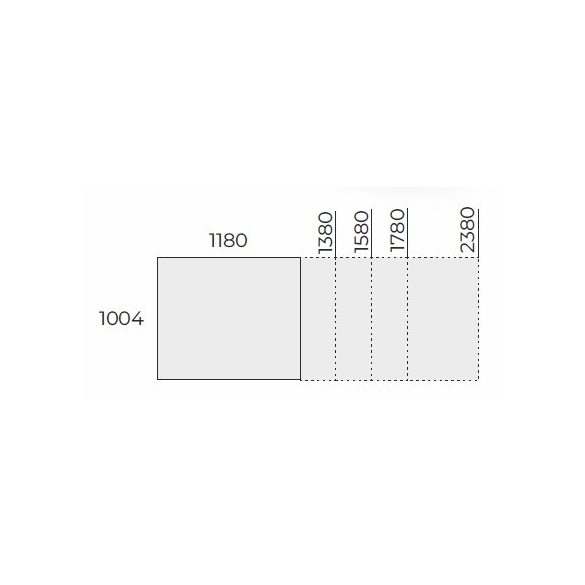 EX TCK 158/100 szögletes laplábas tárgyalóasztal