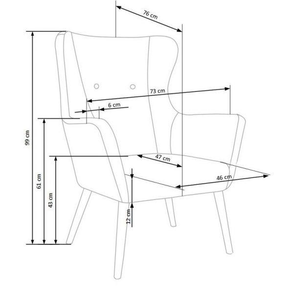 H - Cotto fotel - sötétszürke