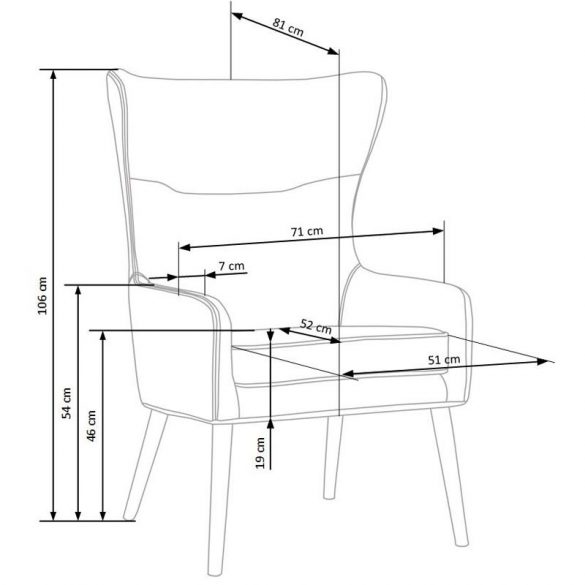 H - Favaro fotel - szürke szövet