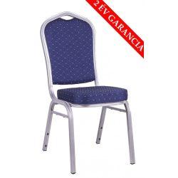 Blues konferencia szék ezüst váz - kék mintás szövet